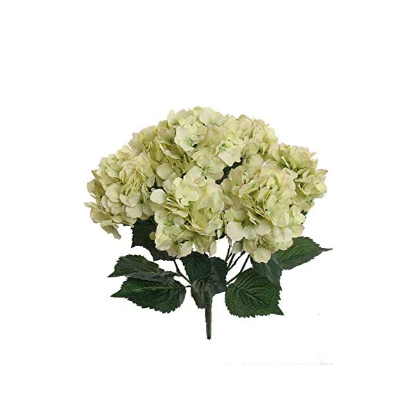 Hydrangea Silk Flowers Plant, Green, Indoor Home Decoration, Outdoor Plant, Wedding, Centerpieces, Bouquets, 24-Pack, Artificial Hydrangeas Bush with 7 Large Gorgeous Bloom Clusters, Leaves, Stems