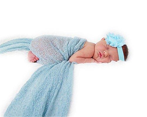 Stretch Baby Wrap (Auberllus Photography Prop Newborn Infant Stretch Knit Wrap Blanket Shawl Baby Photo Backdrop (Light Blue))