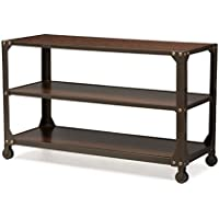 Baxton Studio Dreydon Rustic Industrial Antique Finishing Walnut Wood Occasional Console Table, Bronze