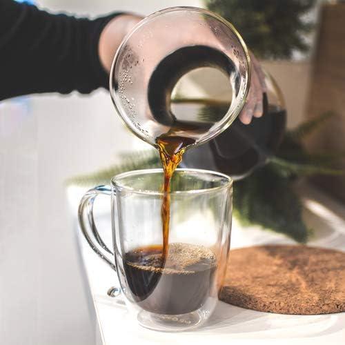16 fl Large Capacity 500 ml Cyprus oz capacity GROSCHE Cyprus Double-walled Glass Coffee Mug Heatproof Insulating Double Walled Glass Mug Excellent for Tea or Coffee