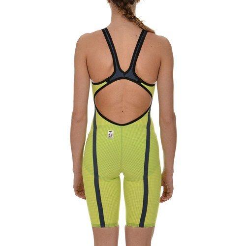 Arena 1A949 Women's Open Back Powerskin Carbon Flex WCE Swimsuit, Fluo Green/Steel Grey - 28