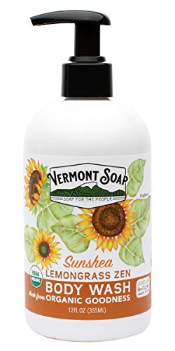 (Vermont Soap Organic Lemongrass Body Wash, USDA Certified Organic Moisturizing Body Wash for Women or Men, Made With Aloe, Jojoba, and Shea Butter, Shea Moisture Body Wash (12oz Lemongrass)