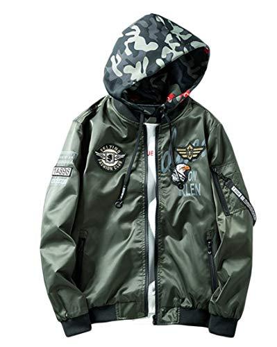 Frieed Mens Sport Bomber Baseball Reversible Ma-1 Flight Hooded Jacket Coat Army Green 3XL