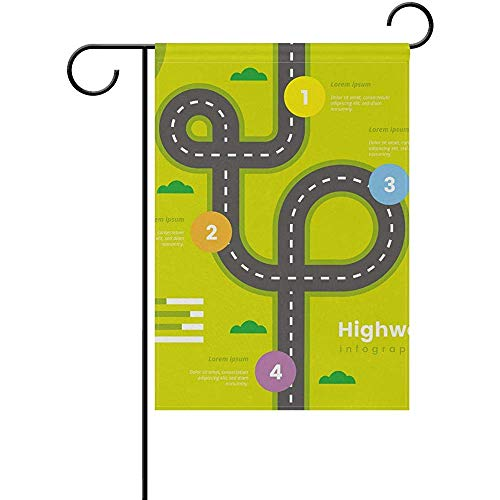 Yunnstrou Highway Infographic Garden Flag Double Sided,House Yard Flag,Holiday Seasonal Outdoor Flag 12x18 Inch -