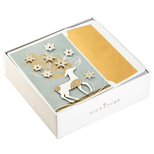 Hallmark Signature Holiday Boxed Cards, Deer with Snowflakes (10 Cards with Envelopes)