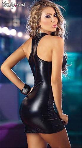 Canarea Reizwäsche Negligee Erotik Damen Sexy Push up Ouvert Latex Reißverschluss Club Kostüm Kleid Unterwäsche große größe (XL, Schwarz)