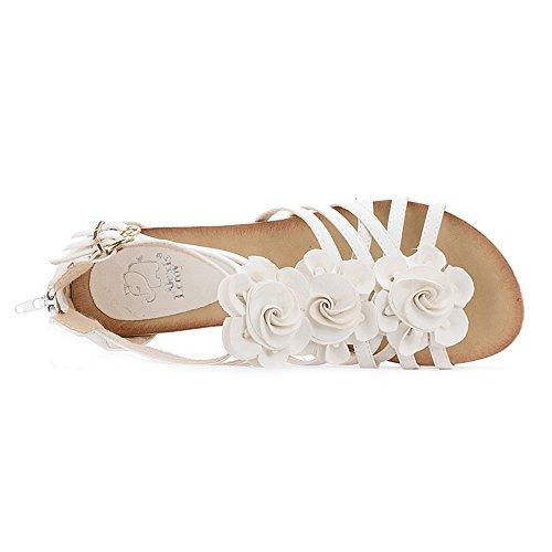 Alexis Leroy Flower Peep Toe Mid Heel Strappy Gladiator Roman Wedge Sandals White v7Po0zl