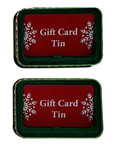 Christmas money and gift card tin case holders noel