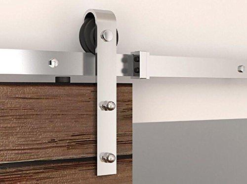 (Vancleef 4-20FT Stainless Brushed Nickle Steel Single Door Kit Sliding Barn Door Hardware, 6FT Track Classic Design, Industrial Strength, Black Rustic, Interior and Exterior)