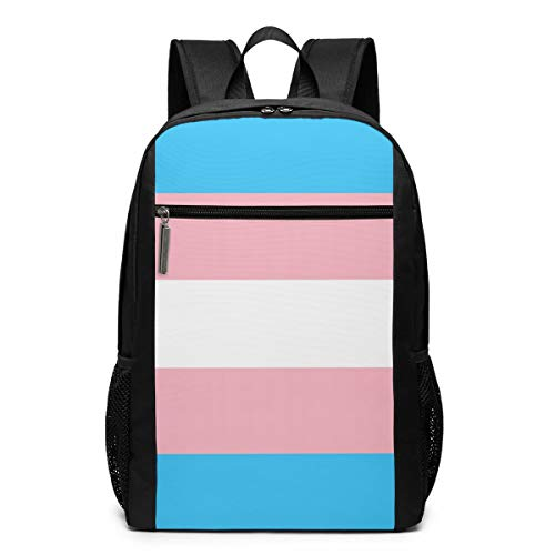 O-X_X-O Women Men Boys Girls Outdoor Camping Travel Backpack Multi-Purpose Rucksack Fits Up to 17 Inch for College School Students Business - Transgender Pride Flag LGBT Pride