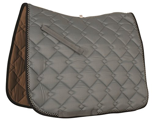 Roma Ecole Double Diamond Dressage Saddle Pad-Smoke/Navy/Silver