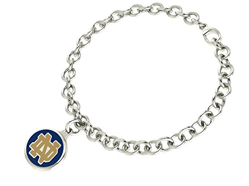 - University of Notre Dame Fighting Irish Sterling Silver Jewelry Enamel Charm Bracelet
