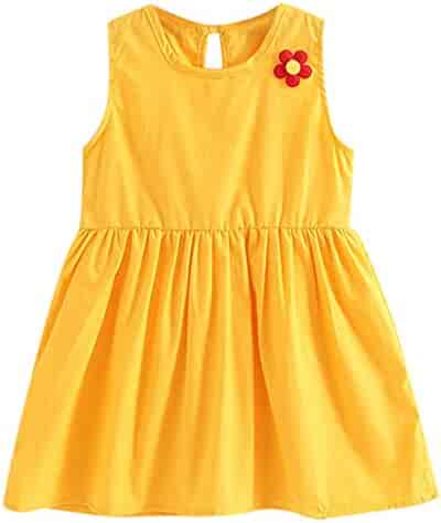 8e46e9aad13 Kingspinner Girls Dresses Casual Sleeveless Solid Flower Princess Party Dress  Sundress 1-5 Years