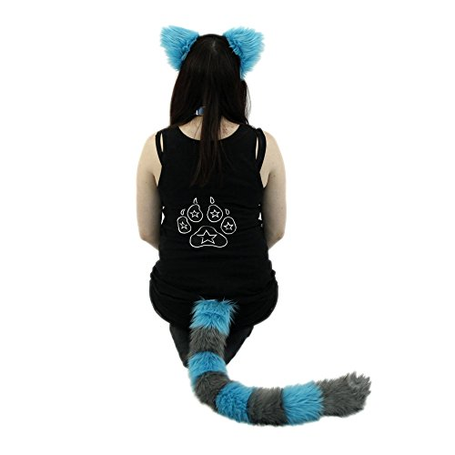 Pawstar Cheshire Cat Costume Furry Ear and Tail Combo - Alternate -