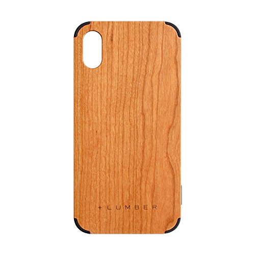 + LUMBER by Hacoa PL067 Wooden Case for iPhone X, Cover with Corner Bumper and Premium Wood (Cherry)