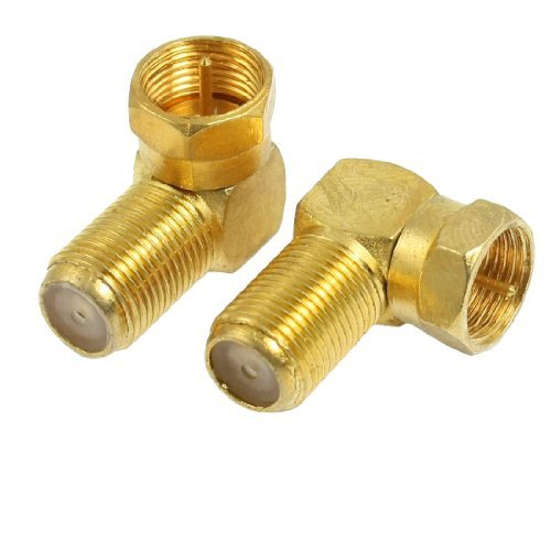Water & Wood 2 Pcs Elbow Design F Type Male Plug to Female Jack RF Coaxial - Elbow Coaxial
