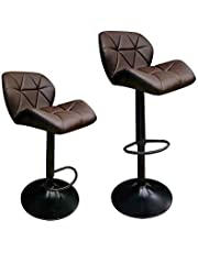 Classic Design Set of 2 Dark Brown PU Leather Height Adjustable Hydraulic Bar Stool for Pub Chair Kitchen Island Counter, with Footrest and Enlarged Metal Base