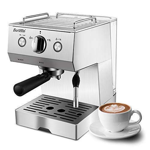 Espresso Machine Coffee Machine with 15 bar Pump Powerful Pressure Coffee Brewer, Coffee maker with Milk Frother Wand for Cappuccino Latte and Mocha, Silver, Stainless Steel, 1050W