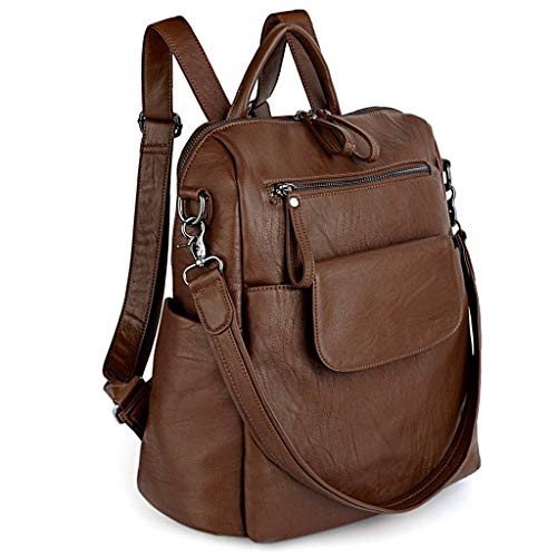 Bag Backpack PU Purse Shoulder Women UTO Brown Washed Rucksack Ladies Leather zqU7f