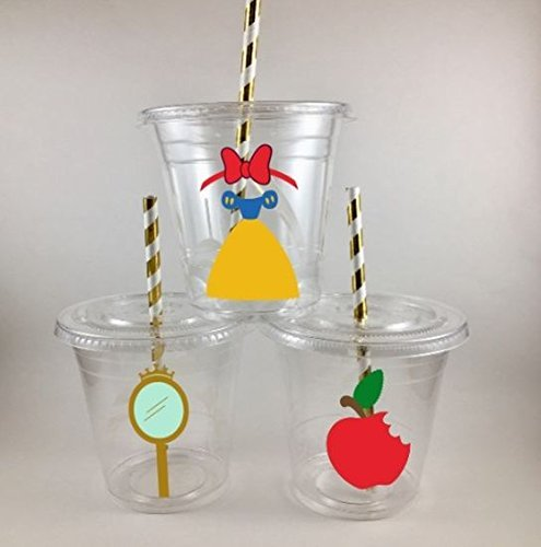 Snow White Inspired Birthday PARTY CUPS Set of 12 WITH Lids and Straws -