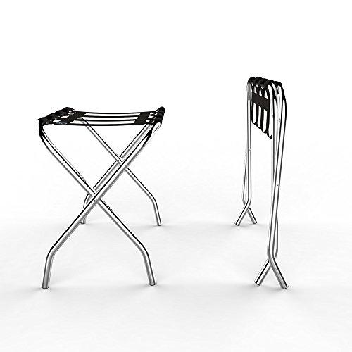 Lavish Home Chrome Folding Luggage Rack and Suitcase Stand- Durable Folding Bag Holder with Black Nylon Straps by Lavish Home (Image #4)