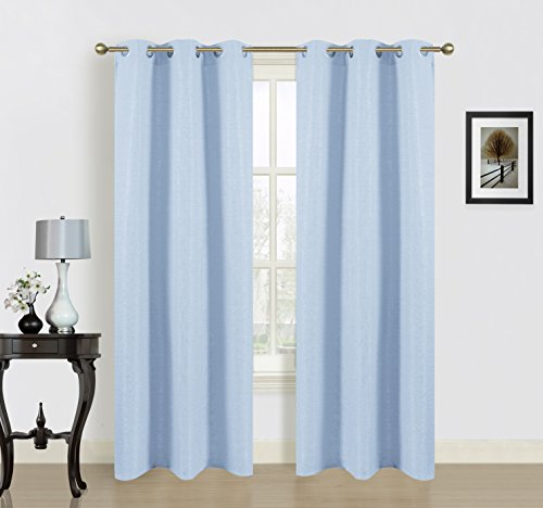 Dainty Home Blended Silk Grommet Window Panel Pair with Cotton, 76x84'', Baby Blue - 84' Window Panel