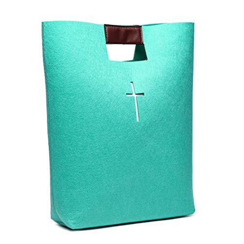 Bible Carrying Case Bible Tote Bag Bible Cover for Men and Women Church Bible Study Case Christian Gift (Green)]()