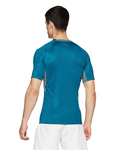 Under Armour Men's HeatGear Armour Printed Short Sleeve Compression Shirt,Bayou Blue (953)/Graphite, Small by Under Armour (Image #2)