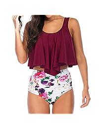 Outique Women Bikini Plus Size Ruffle Lotus Leaf Print High Waist Split Two Piece Swimsuits Set