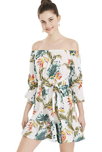 (Apperloth Womens Hawaiian Dresses Off The Shoulder Floral Short Sleeve Strapless Summer Beach Dress)