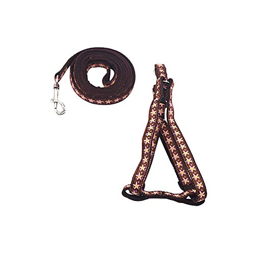 Aland Dog Cat Harness Collar Leash Star Paw Candy Umbrella Print Safety Traction Rope 2# 1x120CM -