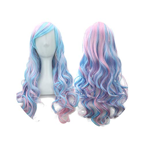 70cm Long Women Hair Ombre Color High Temperature Fiber Wigs Pink Blue Synthetic Hair Cosplay Wig Pelucas