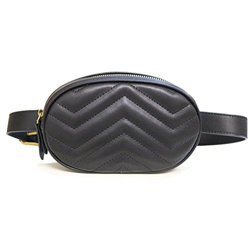 fanny Pack women waist bag round belt bag Pouch (Black)