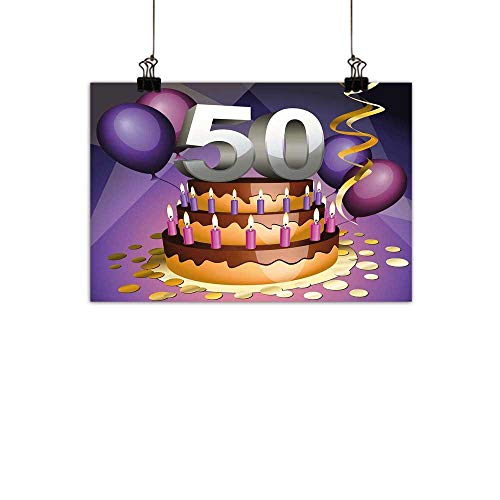 Vineyard Original Ribbon - Warm Family 50th Birthday Living Room Decorative Painting Creamy Cake with Many Candles and Numbers Balloons Ribbons Art Print Modern Minimalist atmospherePurple Gold Grey 27