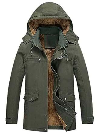 Suncolor8 Mens Trench Coat Plus Size Hoodie Winter Fleece