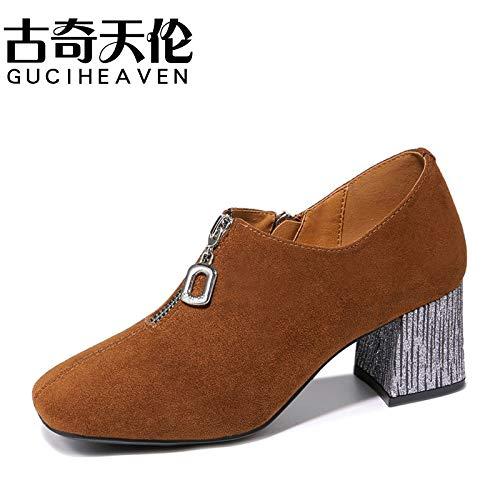 HOESCZS Frauen Schuhe Herbst Art Und Weisefrauen Beschuht Runde Kopfhaut Schuh Frauen Hohe Ferse Tiefer Mund Mit Einzelnen Schuhen