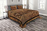 Lunarable Western Bedspread Set King Size, Sign of Saloon on a Wooden Wall Restaurant Carving Art Country West Style, Decorative Quilted 3 Piece Coverlet Set with 2 Pillow Shams, Cinnamon Caramel