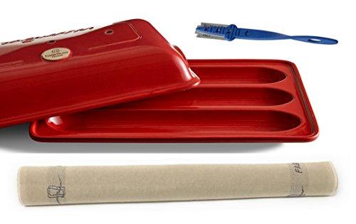 3-Piece Set: Ceramic Baguette Baker, Burgundy, Straight-Edge Bread Scoring Lame, Baker's Couche Proofing Cloth Linen, 23.5 x 35.5 - Bundle