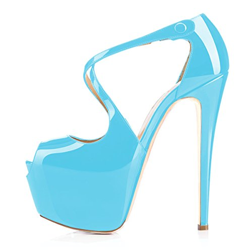 uBeauty Pumps Sandalen mit Plateau Toe Ankle Heels Corss Lackleder High Cyan Schuhe Strap Übergröße Glitzer Damen Peep Stilettos rzv5w4rq