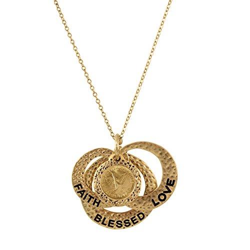 American Coin Treasures Love Faith Blessed Angel Coin Pendant