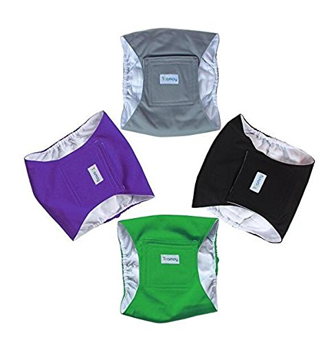 Picture of Teamoy 4pcs Reusable Wrap Diapers for Male Dogs, Washable Puppy Belly Band (XS, Black+ Gray+ Green+ Purple)