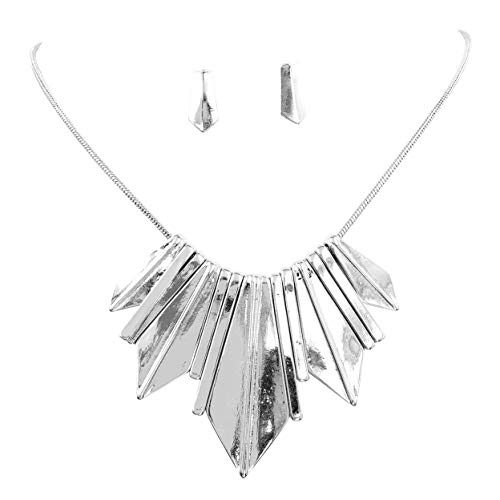 Gypsy Jewels Silver Tone Boutique Style Bib Statement Necklace & Earring Set (Spike Stick)