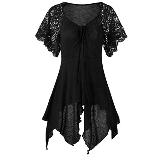 FEITONG Women Bandage High Waist Short Sleeve Lace Floral Patchwork Irregular Hem Mini Dress Blouse Tops(X-Large,Black) ()