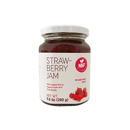NATURA BIOFOODS Strawberry Jam with chunks of fruit and chia seeds - 8.82 oz, inulin added, agave nectar keto organic food