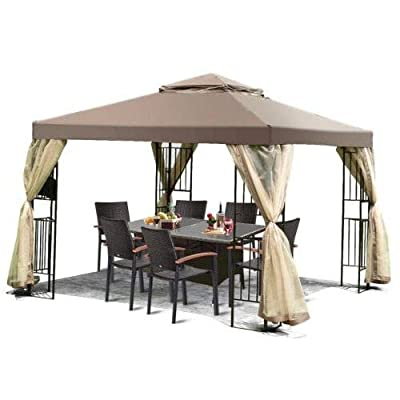 Jjoy- Patio Tents and Canopy Gazebo with Walls-Brown 10'x 10'-Provide Cool Shade On Those Sweltering Summer Days : Garden & Outdoor