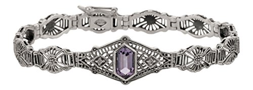 (Art Deco Style Sterling Silver Amethyst and Diamond Filigree Bracelet)