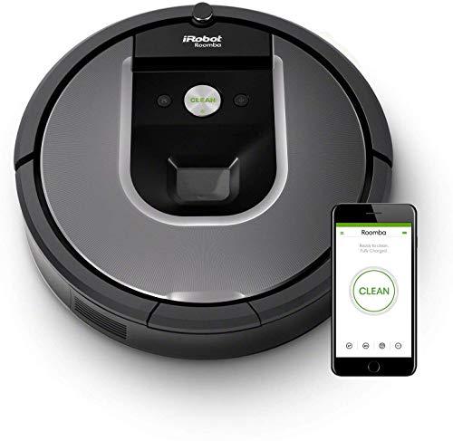 iRobot-Roomba-960-Robot-Aspirapolvere-Sistema-di-Pulizia-Dirt-Detect-Spazzole-Tangle-Free-per-Pavimenti-e-Tappeti-Ottimo-per-i-Peli-degli-Animali-Wi-Fi-70-dB-autonomia-75-min-Argento