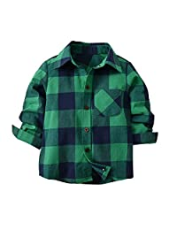 Jwhui Boy Cotton Long-Sleeved Shirt Green Plaid Children's Clothing Solid Color Baby