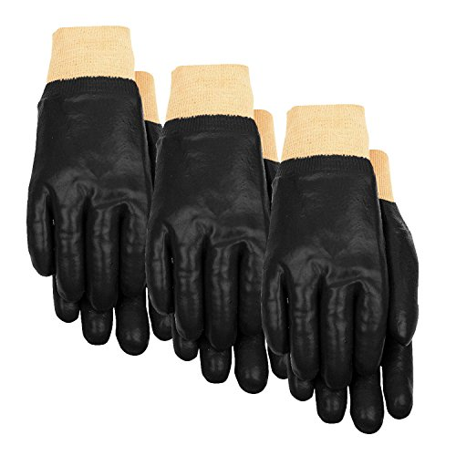 Black Pvc Coated Gloves - 7