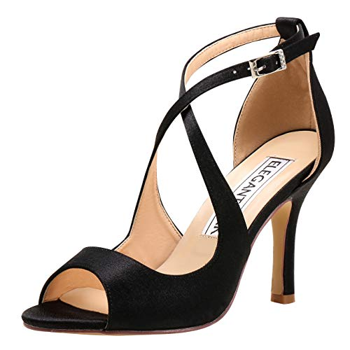 ElegantPark HP1820 Women Peep Toe High Heel Sandals Cross Strappy Wedding Evening Dress Shoes Buckle Stain Black US 6 -